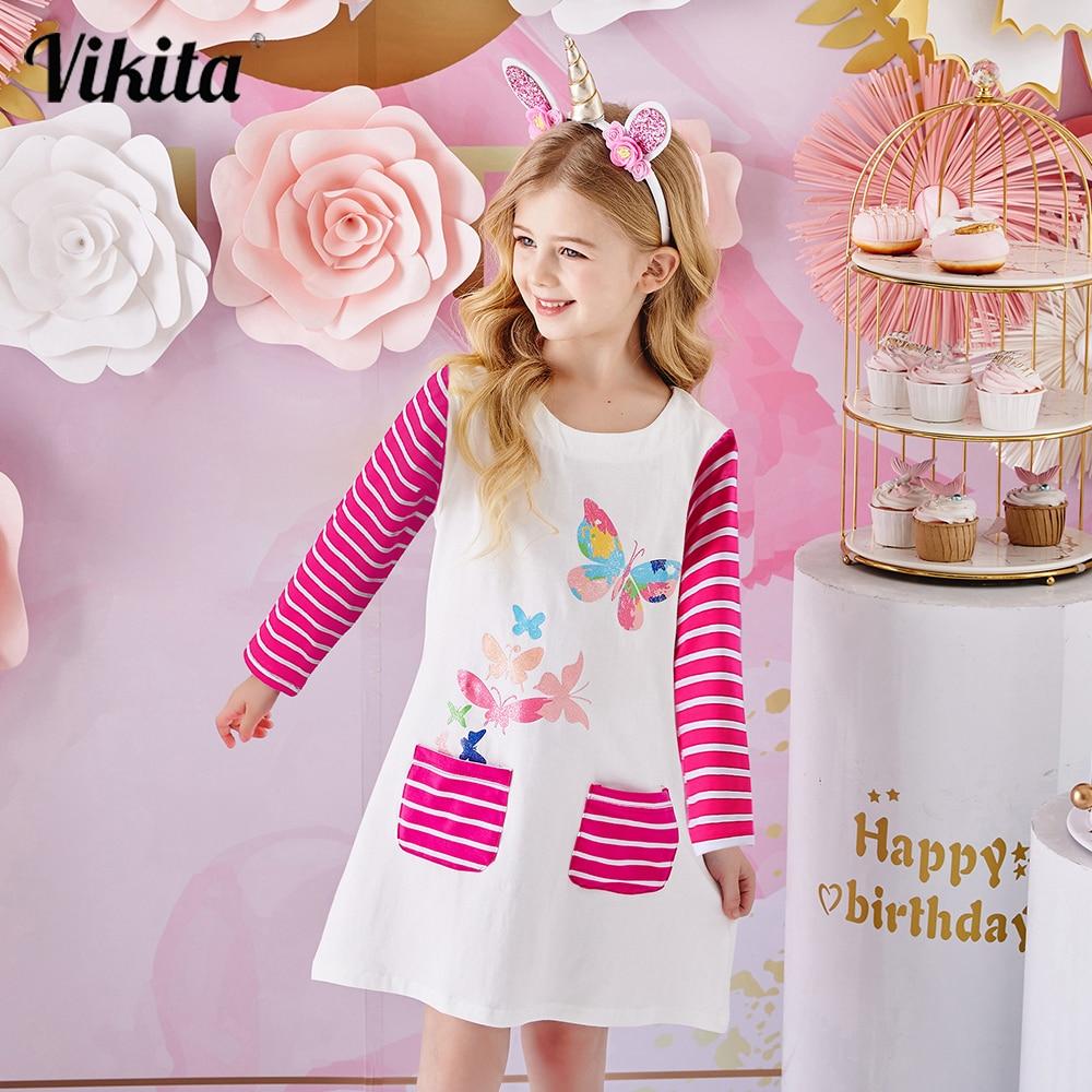 VIKITA Girls Dress with Pockets Children Striped Casual Wear Children Cotton Clothes 3-12y Costumes Girls Butterfly Print Dress girls rainbow print striped dress