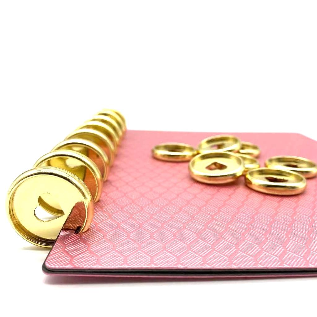 12 Uds. 28mm en forma de corazón de plástico anillo hebilla seta agujero hoja suelta Bloc de notas Color plástico amor disco melocotón corazón botón