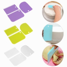 3Pcs Plastic Cream Scraper Suit DIY Kitchen Straight Arc Tooth Shape Cream Cutter Pasty Baking Fonda