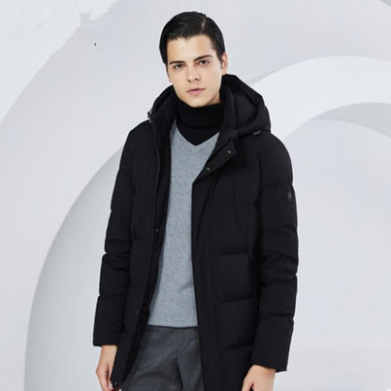 سترة شتوية رجالية بغطاء للرأس من BOSIDENG, معطف شتوي سميك للرجال بغطاء للرأس معطف خارجي دافئ متوسط الطول مقاوم للماء