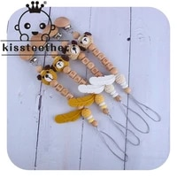 kissteether personalized name wooden animal pacifier clip baby shower baby gifts teething toy dummy clips wood letter chains