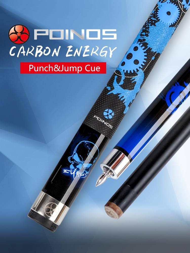 POINOS Billiard Carbon Fiber 3 Pieces Punch Jump Cue13mm Maple+Carbon Shaft Break Jump Cue Billiard Bullet Joint Kit