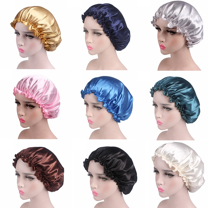 Satin Women Hair Care Bonnet Cap Sleeping Cap Night Sleep Cap Solid Hair Care Satin Nightcap For Wom