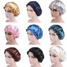 Satin Women Hair Care Bonnet Cap Sleeping Cap Night Sleep Cap Solid Hair Care Satin Nightcap For Wom