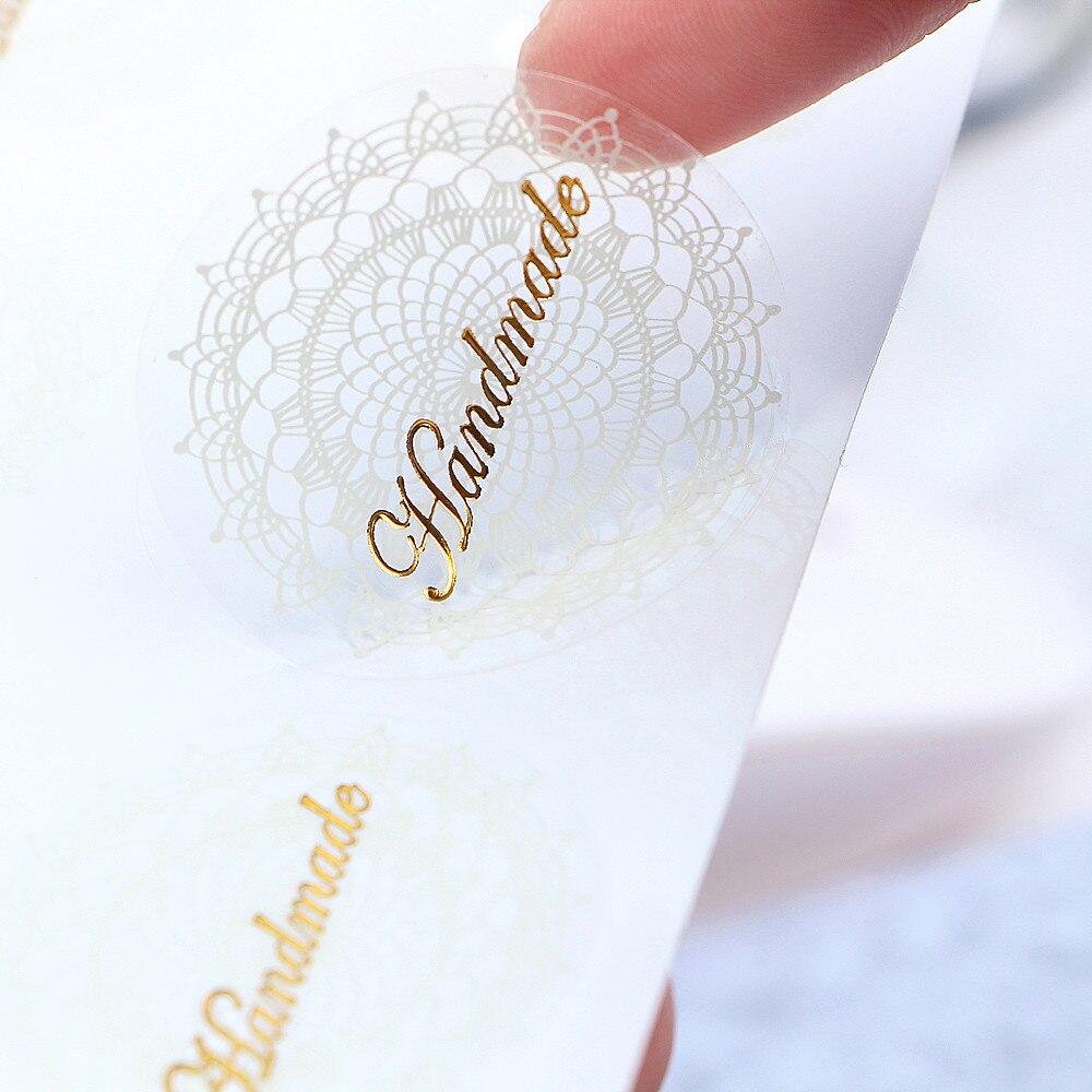 80 unids/lote, etiqueta adhesiva de alta calidad, etiquetas adhesivas transparentes de encaje blanco, pegatinas de PVC hechas a mano para regalo