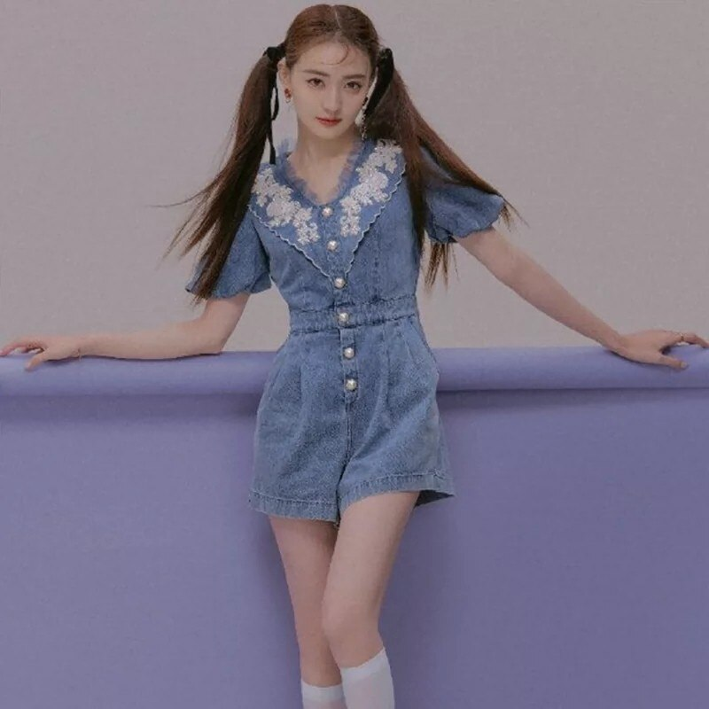 Women Jeans Playsuit 2021 Autumn V neck Single Breasted Pearls Beaded Embroidery SHort Sleeve Denim Short Jumpsuit and romper