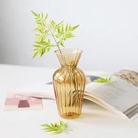 vintage glass jar shaped vase hydroponic striped french glass vase art creative home decoration ornaments