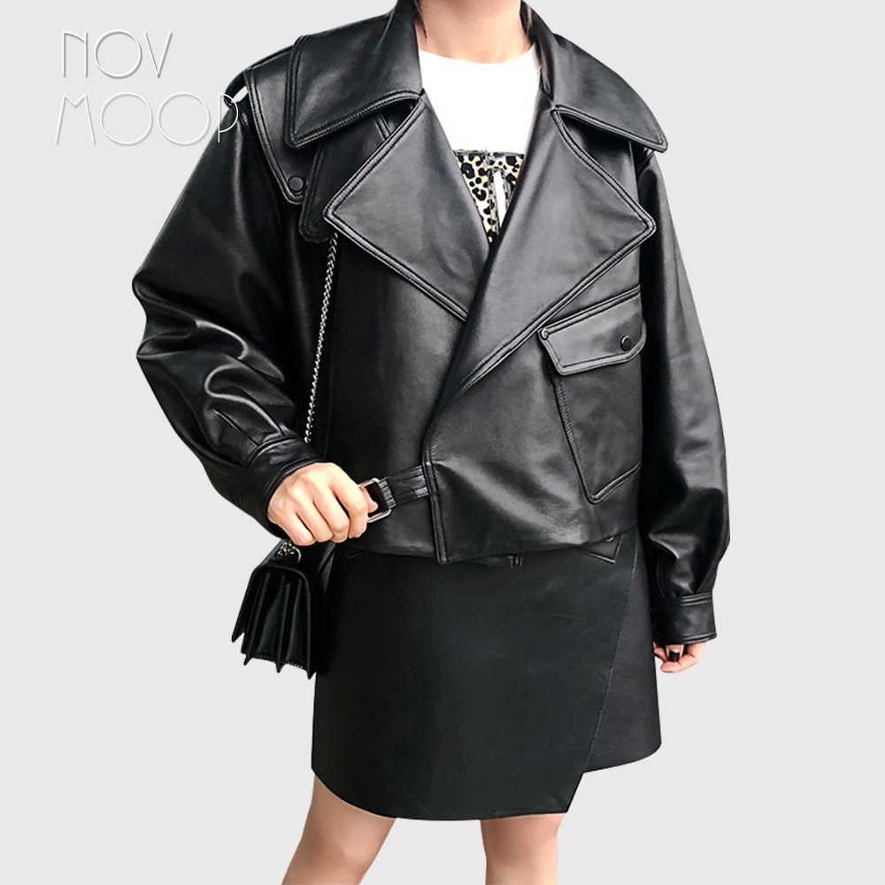Novmoop casual color café negro piel de oveja abrigo de cuero genuino...