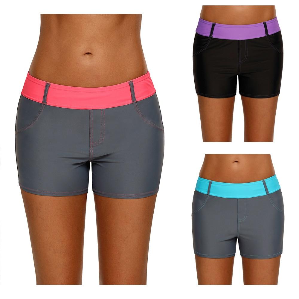 2019 Boxer cuatro esquinas bañadores de natación mujeres de secado rápido elástico Casual cómodo Mujer Pantalones cortos de Yoga pantalones atléticos