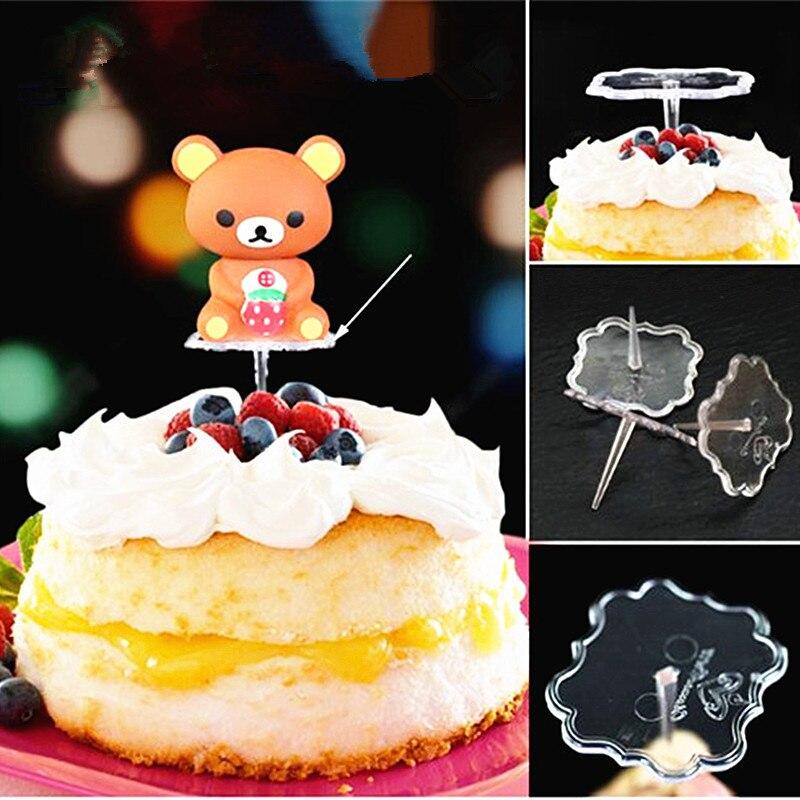 10 шт. торта Топпер украшения подставка держатель прозрачный пластиковый торт декоративные нижние аксессуары форма для кекса держатель для флажка база