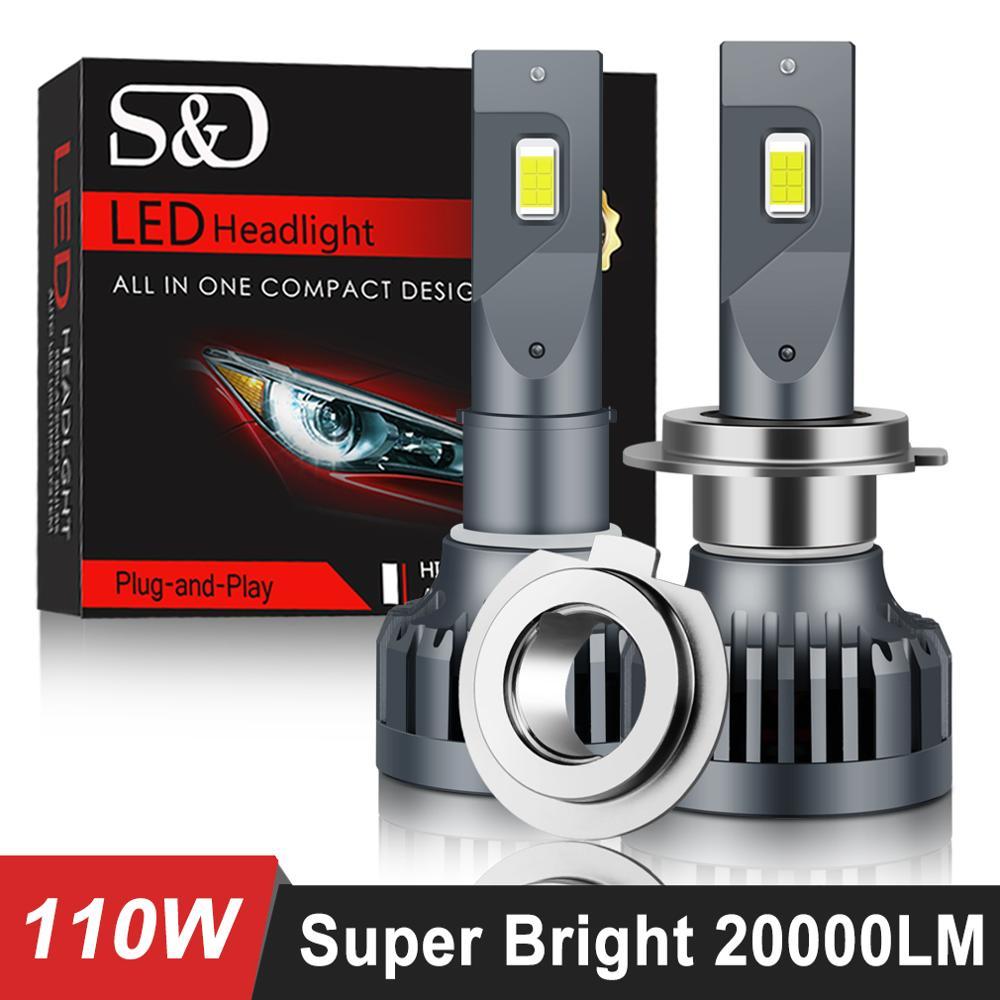 سوبر مشرق 20000LM سيارة المصابيح الأمامية H7 LED في Canbus H4 LED H1 H8 H11 H3 HB3 9005 HB4 9006 LED أضواء السيارات لمبة 110W مصباح 6500K