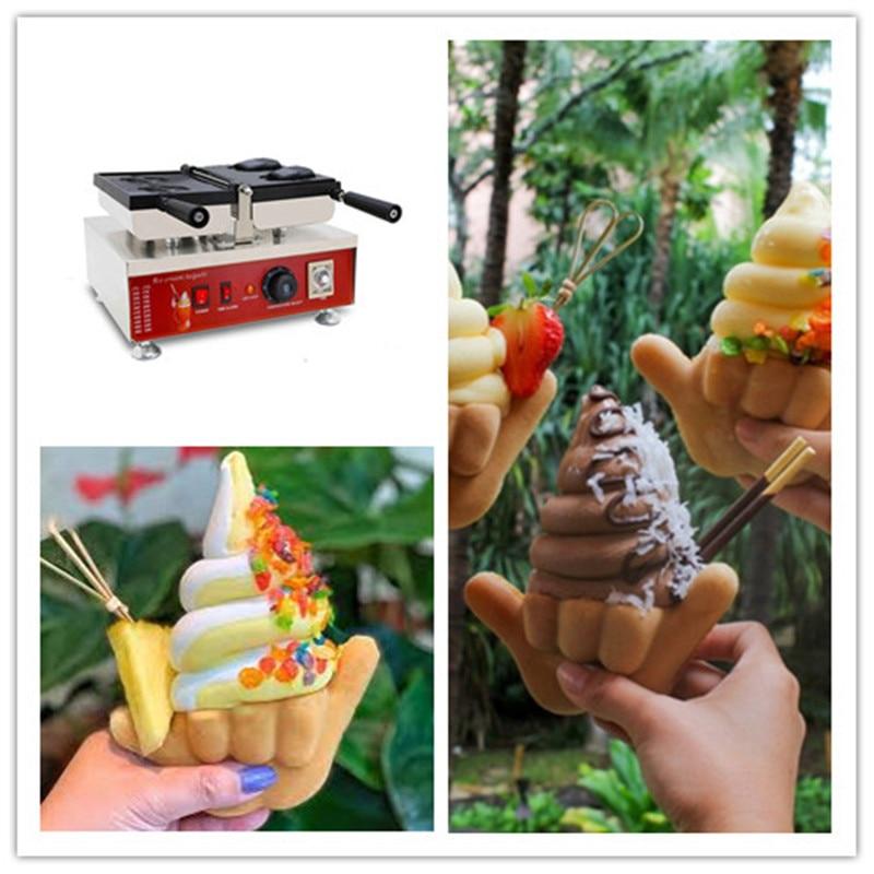 Hot Sell Shaka Boom Shape Ice Cream Taiyaki Machine Waffle Cone Open Mouth Maker Snack Food Baking Equipment With High Quality недорого