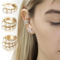 n58f fashion c shaped earrings gold no pierced diamante clip earrings outdoor look