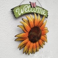 ELEG-수공예품 빈티지 금속 나비 해바라기 환영 로그인 프론트 도어 장식 매달려 야외 화환 장식 문 베란다 바