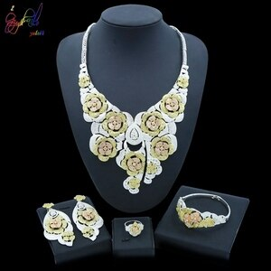 Yulaili Vintage Flowers Big Necklace Earrings Bracelet Ring Dubai Jewelry Sets For Women Party Wedding Jewelery Set Wholesale