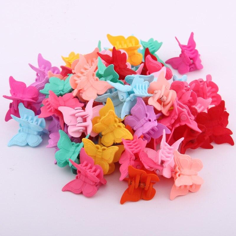 Разноцветные Мини-Когти для волос в виде бабочки, пластмассовая заколка для волос, милые бабочки, заколки для девочек, 20 шт.