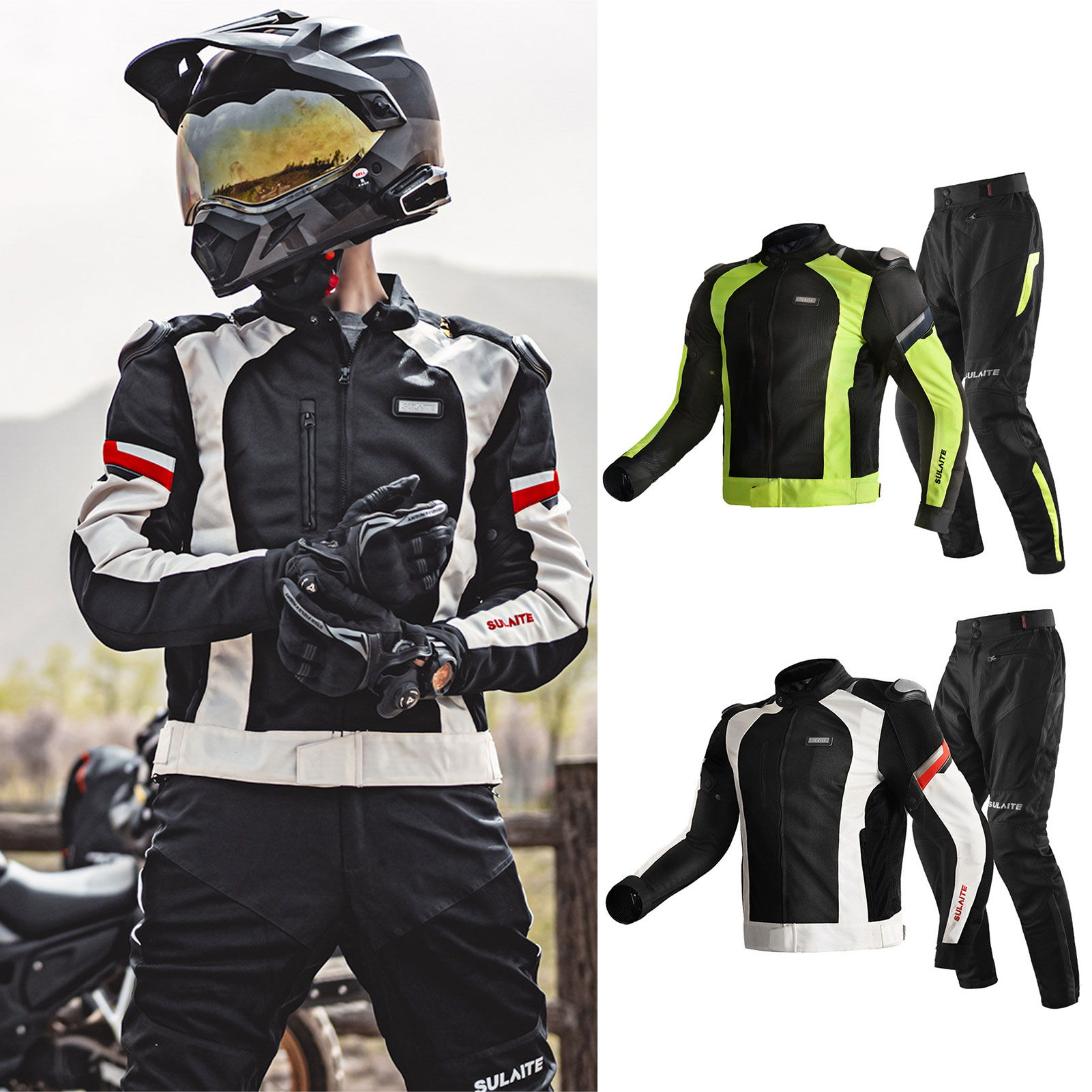 4 Seasons Motorcycle Jacket Racing Breathable Reflection Riding Outfit ATV Motocross Body Protection Clothing Brilliant