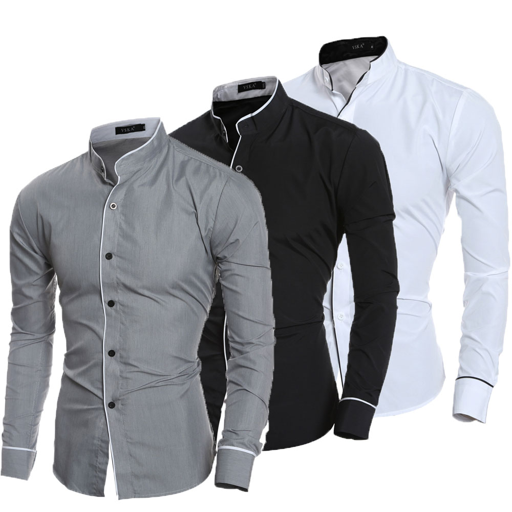 Men Stand Collar Shirt Long Sleeve Turn Down Collar Slim Pure Colors Solid Fit Business Shirts Male zusigel collar white shirt double breasted black shirt mandarin collar shirt for men long sleeve slim fit muslim shirts men