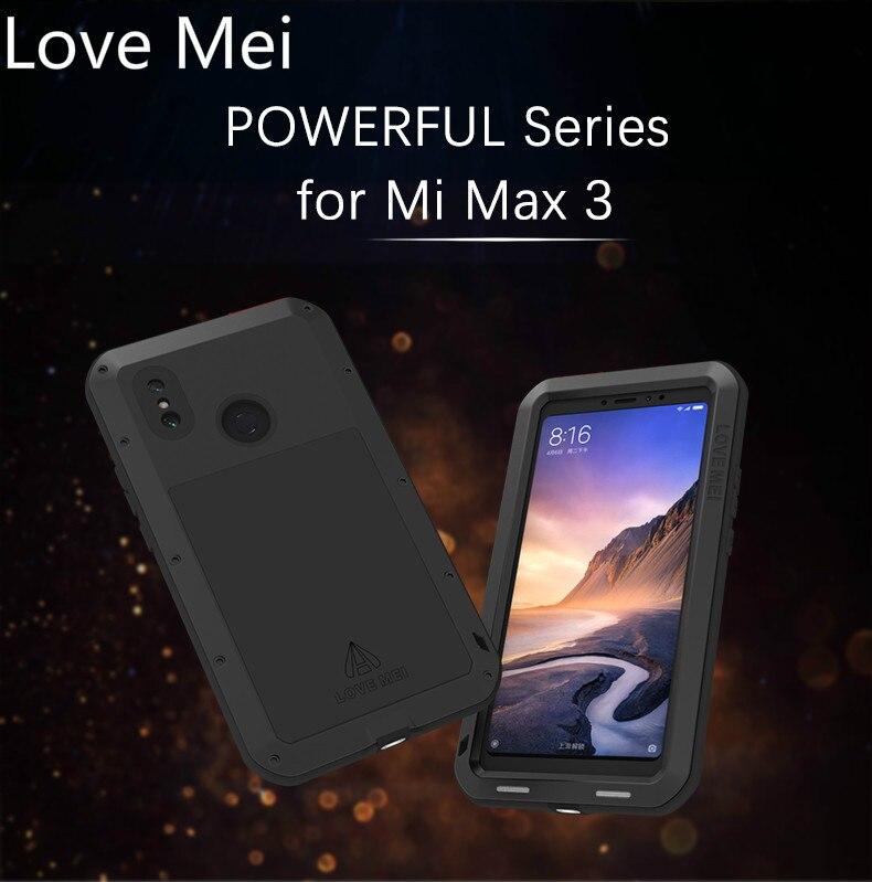 Love me-جراب درع معدني قوي لهاتف Xiaomi Mi Max 3 ، جراب متين مقاوم للماء ومقاوم للصدمات لكامل الجسم