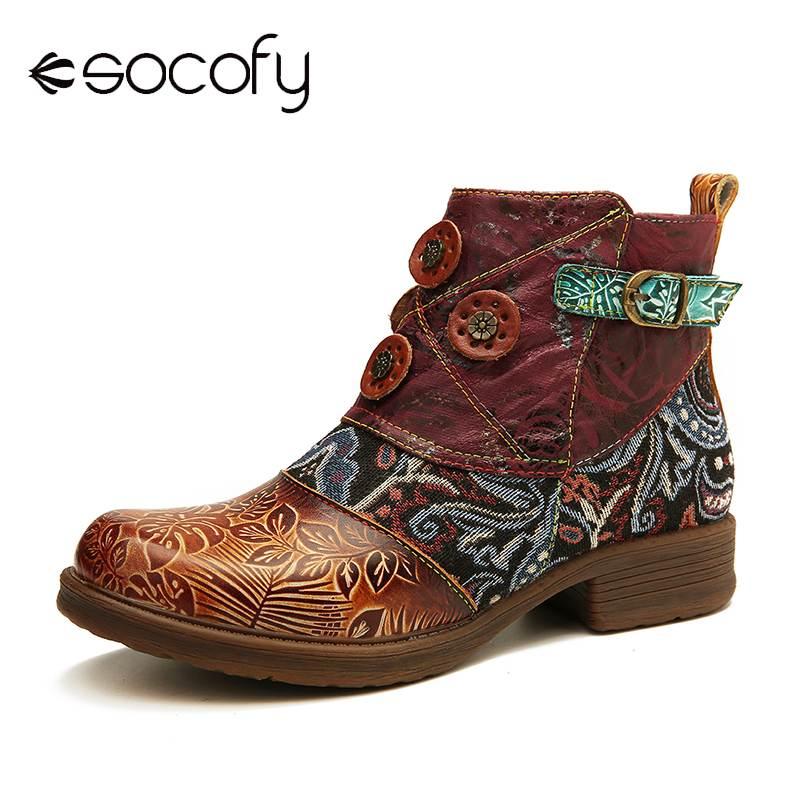 SOCOFY-حذاء نسائي قصير من الجلد الطبيعي بإبزيم ريترو ، حذاء مسطح وناعم ، أنيق ، 2020