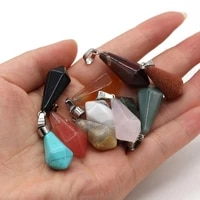 2pc natural stone pendants cone shape turquoise opal charms for jewelry making diy women necklace earrings reiki heal gifts