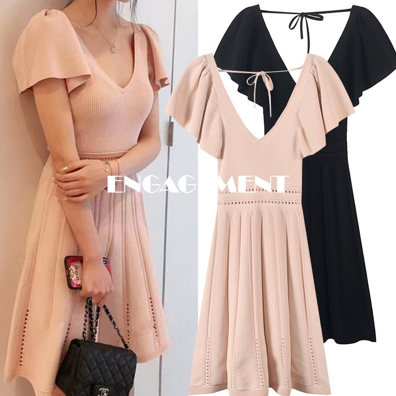 ENGAGEMENT   2021 Summer French Dress Hollow Waist Fairy Skirt Lotus Leaf Sleeve with V Neck
