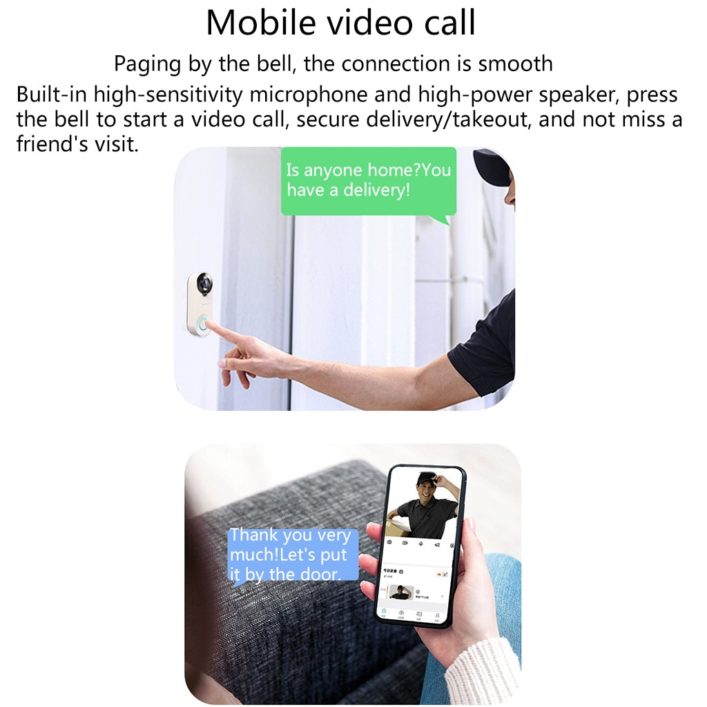 New WiFi Video Doorbell Camera Wide Angel with buit-in Battery RIR Motion Detection APP Remote Control for Home Security enlarge