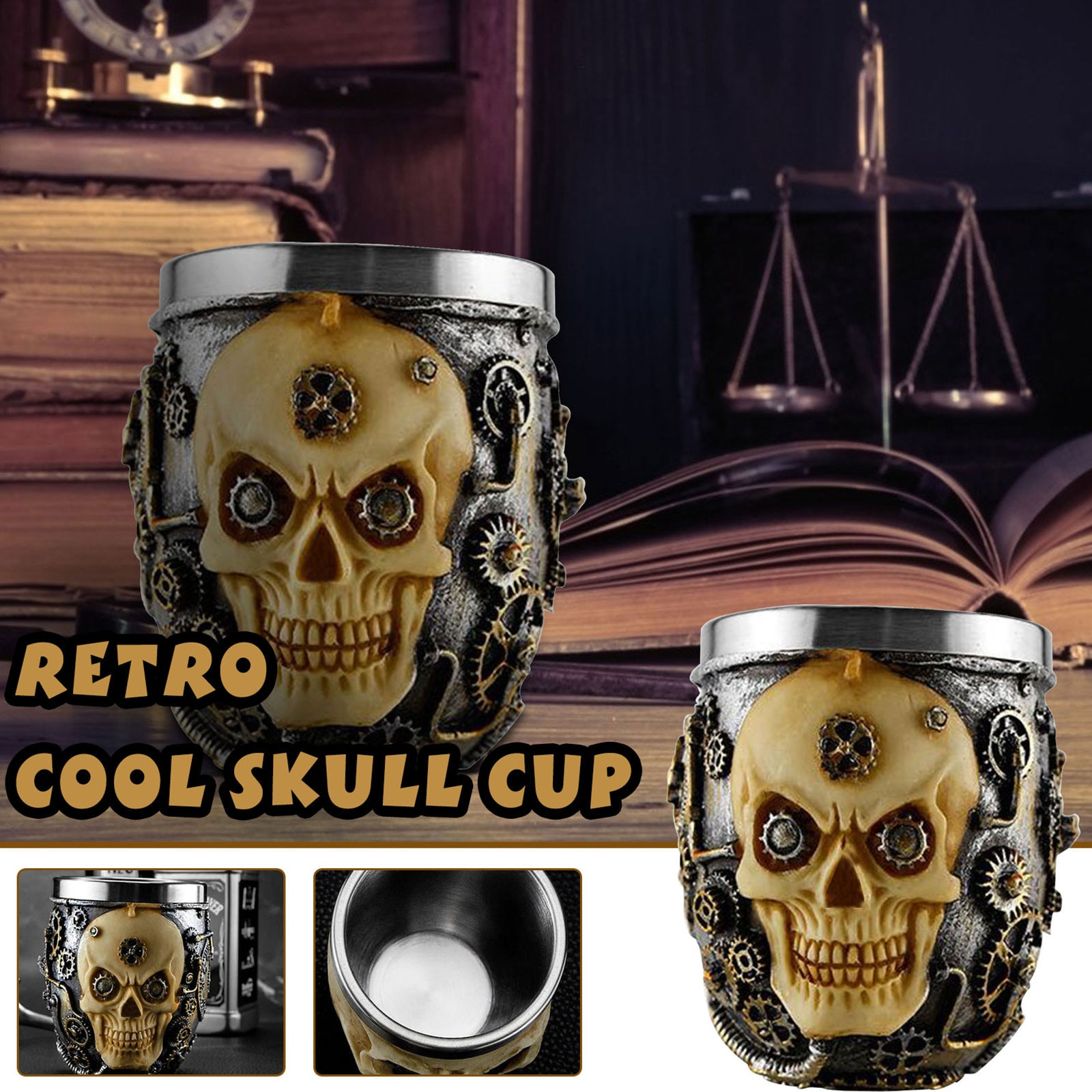 Taza de té de acero inoxidable para decoración de habitaciones, taza de...