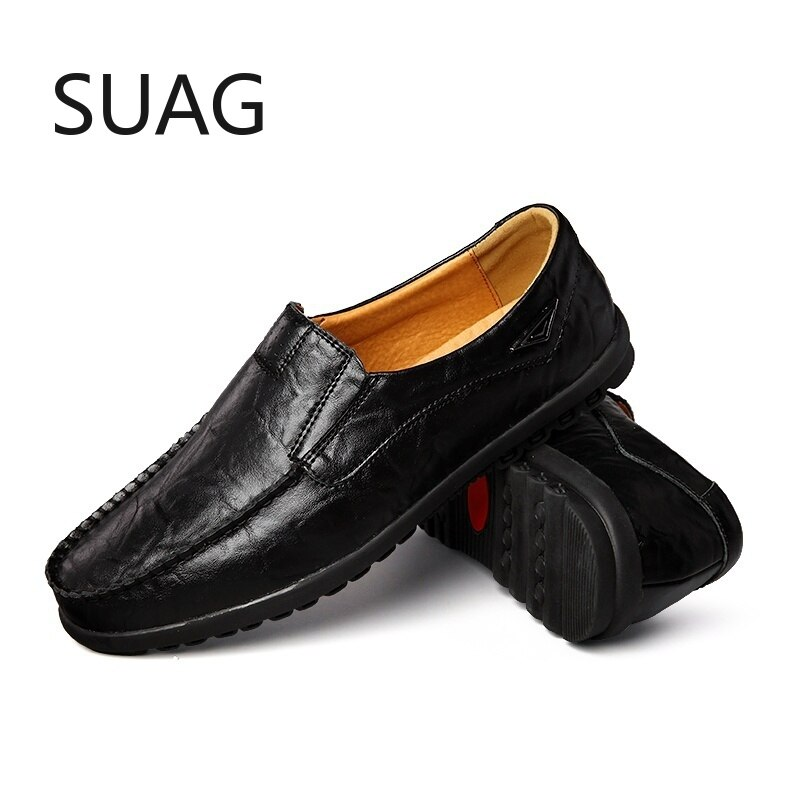 Genuine Leather Men Casual Shoes Italian Men Loafers Moccasins Slip on Men's Flats Breathable Hollow