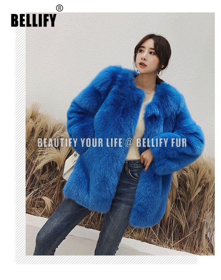 معاطف خارجية للنساء, تصميم عصري أنيق ، لون أزرق مشرق ، فرو ثعلب طبيعي