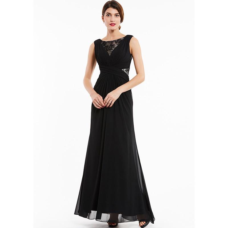 Dressv black lace scoop neck long evening dress sleeveless cheap wedding party formal dress a line evening dresses