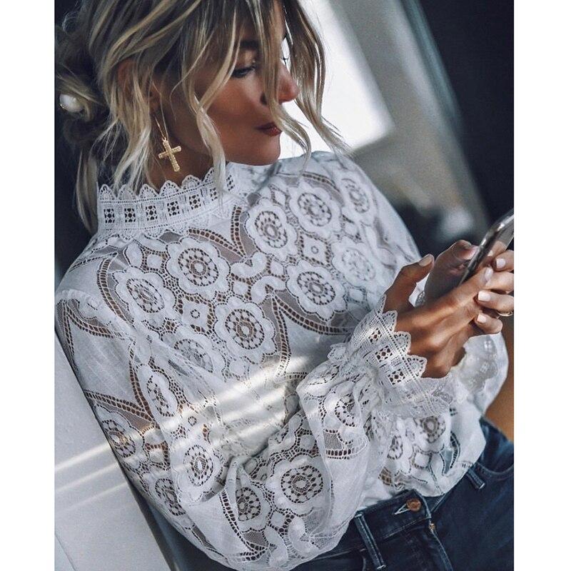 Blusa de renda feminina sexy, camisa de renda manga longa branca, vintage, sexy, de 2020 za za