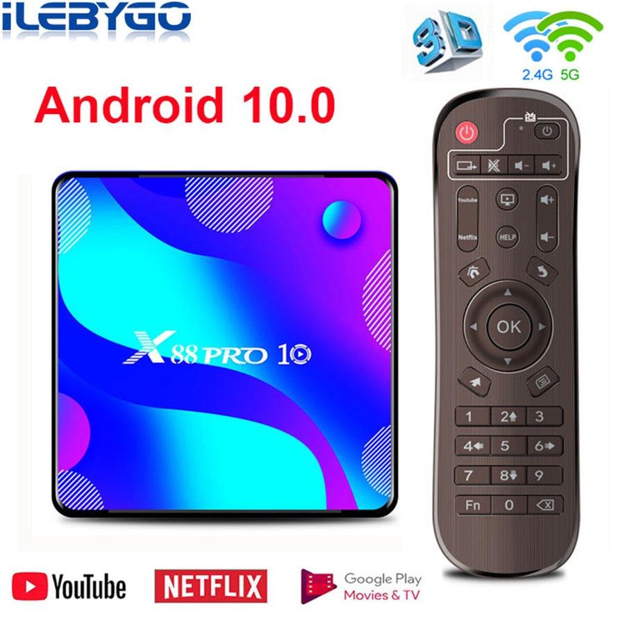 X88 PRO 10 Dispositivo de TV inteligente Android 10 4GB RAM 64GB ROM RK3318 reproductor multimedia de Google Netflix, Youtube 4K Set Top Box Android 10,0