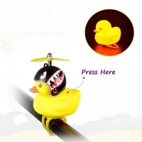 bike small yellow duck bicycle bell luminous airscrew helmet duck ducky bicycle wind motor riding cycling lights horn rainproof