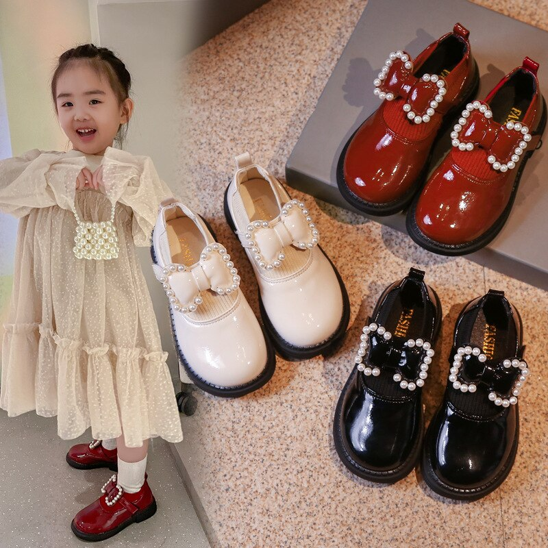 Children Leather Shoes For Girls  2021 Autumn Single Shoes Performance Princess Pearl Bow Soft Botto