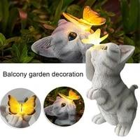 led solar waterproof cat garden balcony decoration light outdoor rural yard decoration resin crafts