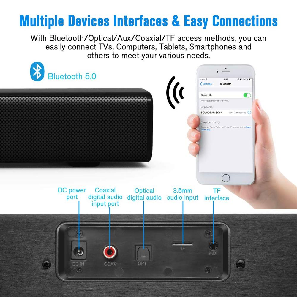 YOUXIU Bluetooth Sound Bars 50W Wireless Speakers Hifi 3D Stereo Column Subwoofers Surround Speakers with Promotions enlarge