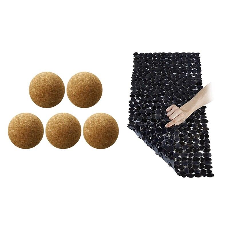 1x 70X36cm الحمام المضادة للانزلاق حصيرة حمام حصيرة و 5 قطع النبيذ الفلين الكرة خشبية الفلين الكرة سدادة (2.36 بوصة/6 سنتيمتر)