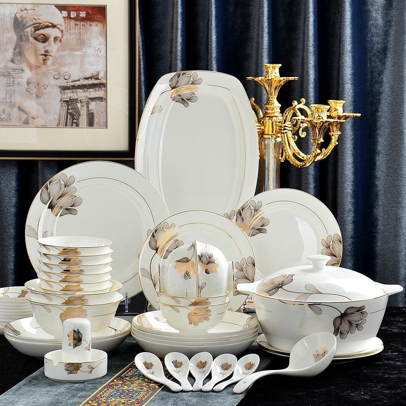 46 قطعة مجموعة ، العثور على مجموعة سفرة صينية العظام ، تصميم ورقة الذهب ، المطبخ الكورية pocelain ، مجموعة أطباق عيد الميلاد ، طاولات العشاء الذهب