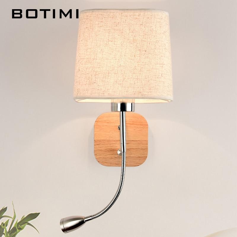 Nueva lámpara LED de pared BOTIMI para sala de estar, Hotel, cabecera, pared, aplique con pantalla de tela, lámpara E27, iluminación de lectura para cama, iluminación para el hogar
