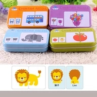 kids wooden puzzle card baby montessori toys car animal fruit graph match game early educational wooden jigsaw toys for children