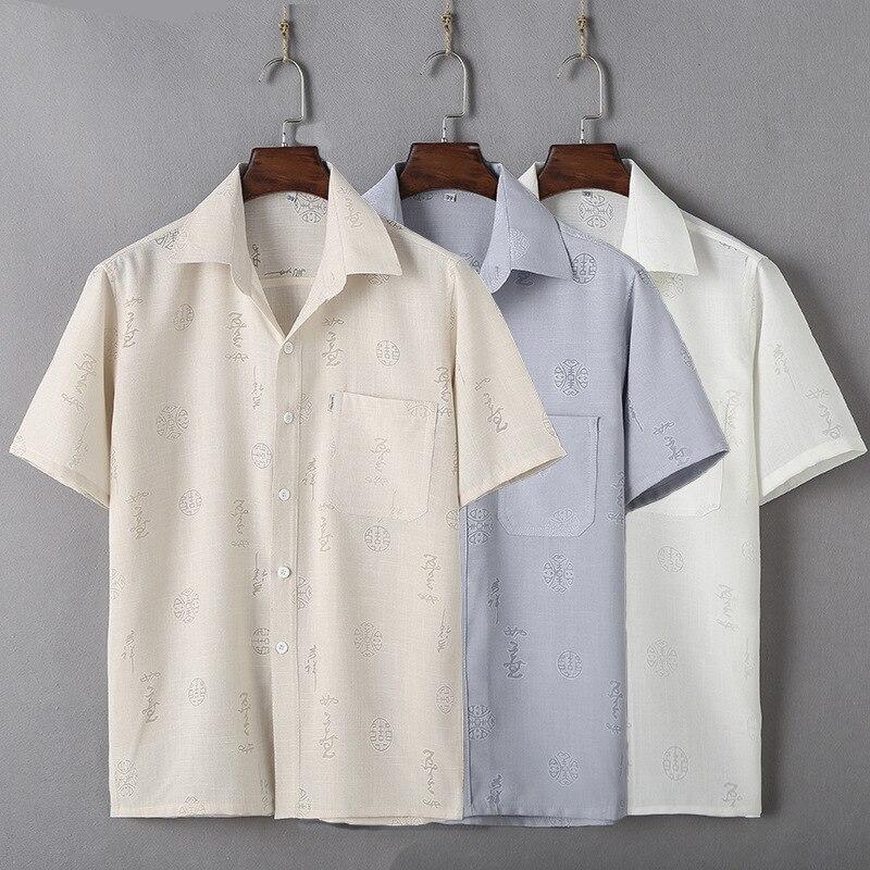 Traje Tang de algodón y Lino de mediana edad para hombre, camisa...