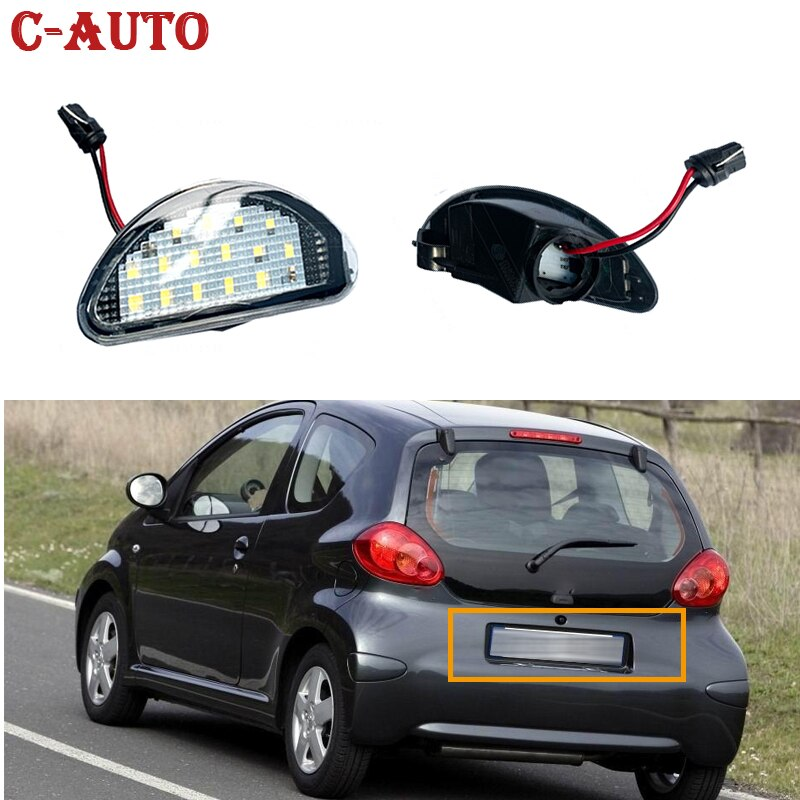 2pcs 15 SMD LED Car Auto Licence Number Plate Light Lamp White Accessories Parts For Toyota Aygo MK