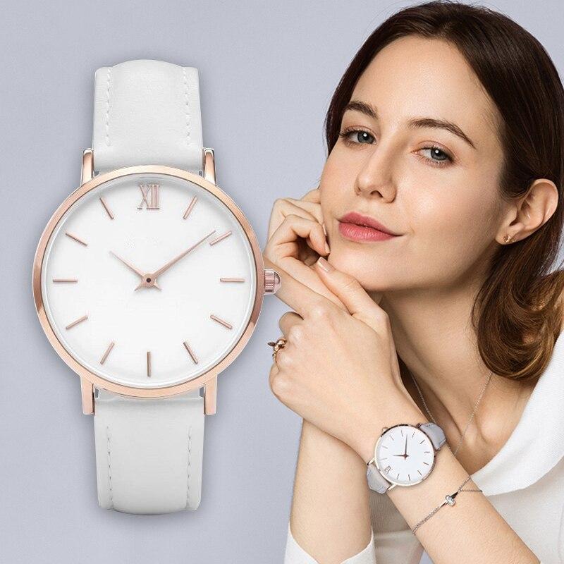 2019 relojes para Mujer moda de lujo Simple banda de cuero Casual Reloj de pulsera de cuarzo para Mujer Reloj femenino Reloj Mujer