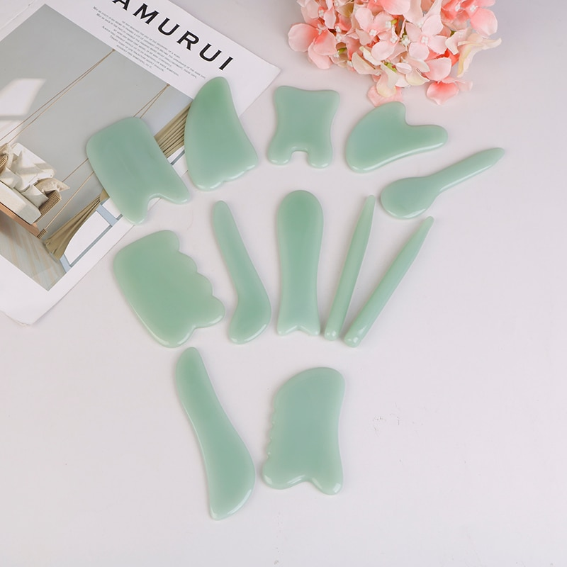 14Styles Natural Jade Scraping Board Massager Relaxation Pressure Therapy Scraper Health Care Beauty Massage Tool For Face Body natural powder crystal jade scraping plate v shaped health beauty beauty detox health care