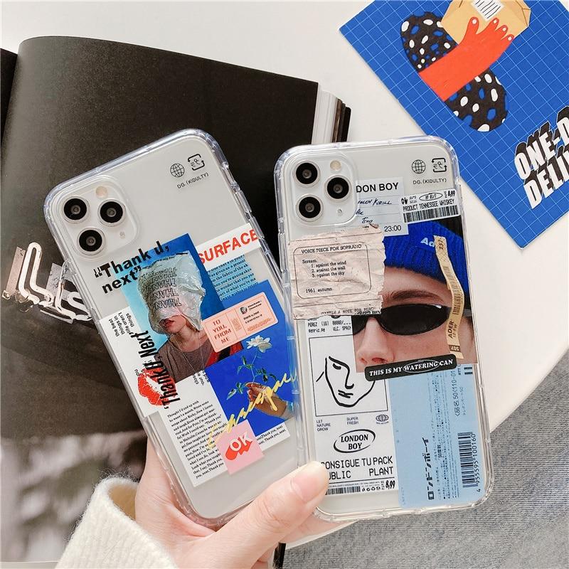 Funny Fashion art Label Transparent Phone Case for iPhone 11 Pro Max X XR XS Max Case for iPhone 7 8 Plus back Cover Soft Case