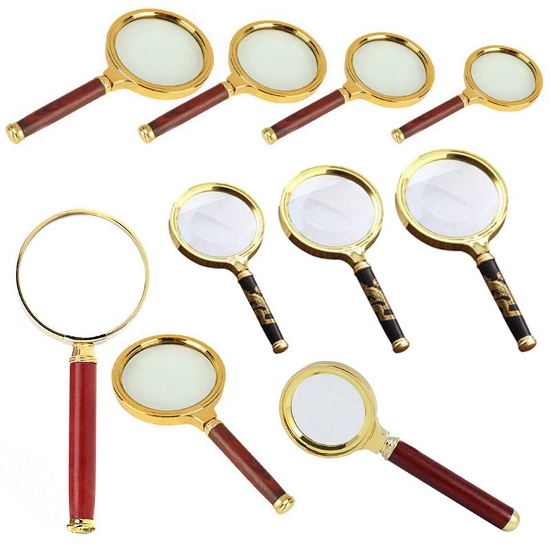 10X Handheld 10X Magnifying Glass Portable Magnifier Retro Handle  Eye  Glass 60/70/80/90mm Magnifying Glass
