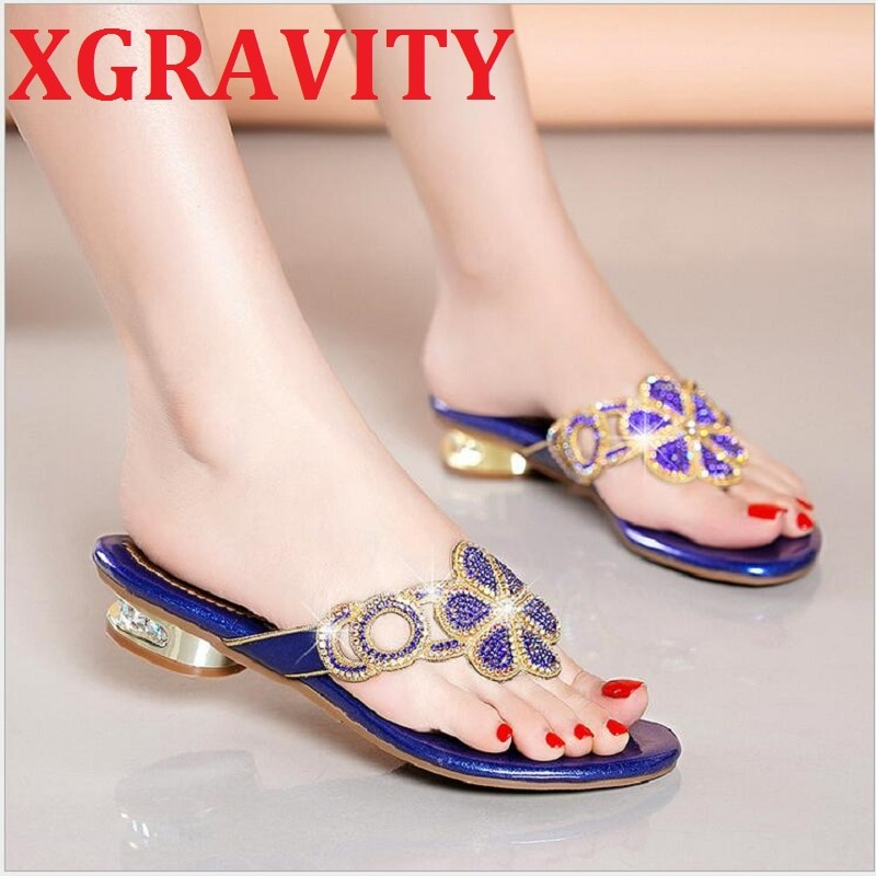 XGRAVITY-أحذية الشاطئ النسائية ، والصنادل الأنيقة ، وأحجار الراين ، والأزياء ، وتصميم الأزهار ، والكريستال ، B008