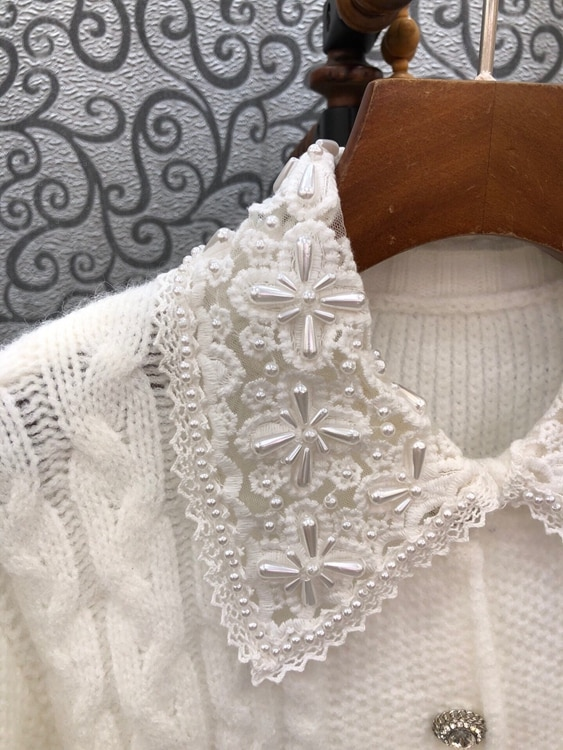 2021 Autumn Winter Fashion Wool Cardigans High Quality Women Beading Turn-down Collar Appliques Flowers Casual White Cardigans enlarge