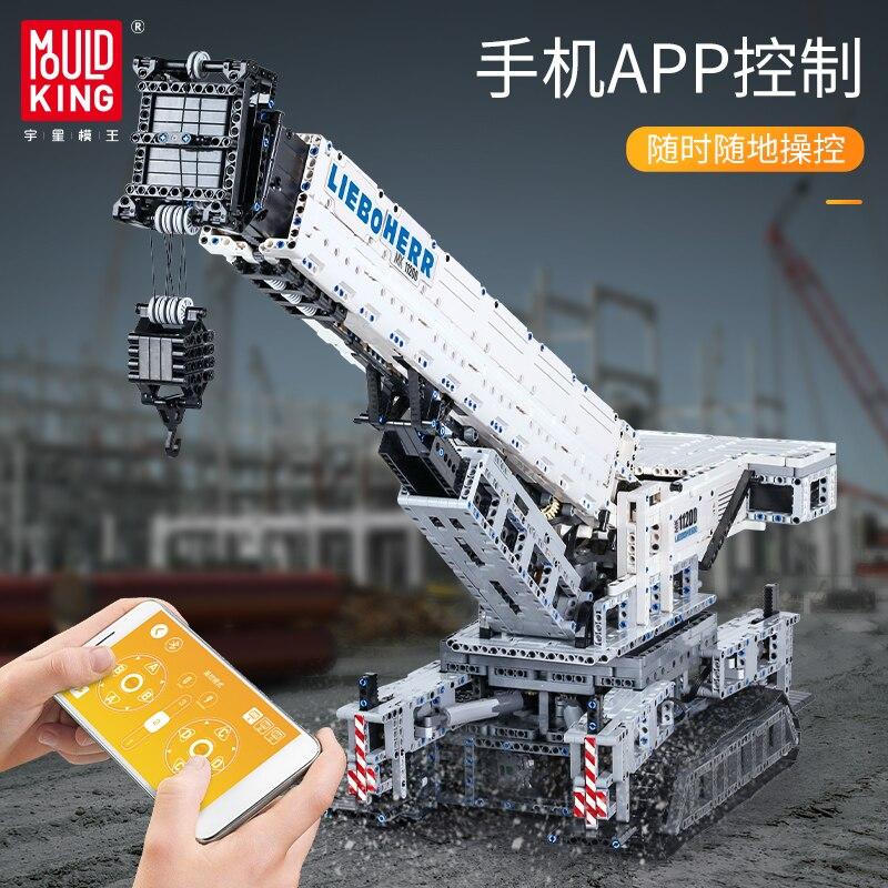 MOULD KING 17002 Crawler Crane 4000pcs High-Tech APP Remote Control Truck Model Building Blocks Assemble Kids DIY Toys enlarge
